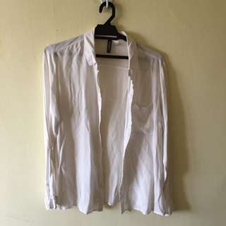 H&M White Button Up Top