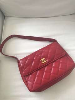 Firm on the price.  Good condition authentic Chanel red caviar shoulder bag - no inclusions; no more card and holo.  Check photos for flaws. Exterior is ok; interior has flaws but not seen when worn. Selling low. Lovely shade of red. 11 by 7