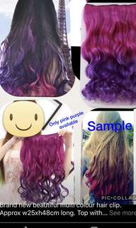Brand new beautiful multi colour hair wig clip