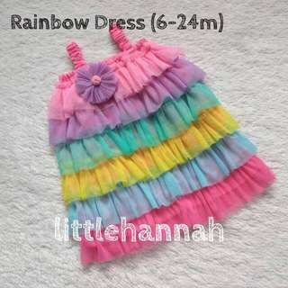 🎈Instock - Baby Unicorn Rainbow Tulle Dress (6-12m)