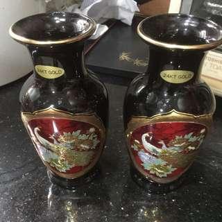 Vas lapis emas tinggi 16 cm lebar 8 cm