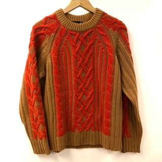 Rag & bone brown and orange knitted sweater top size S