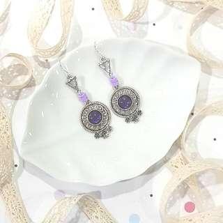 • Handmade Earrings • Silver • Purple • Dangling •