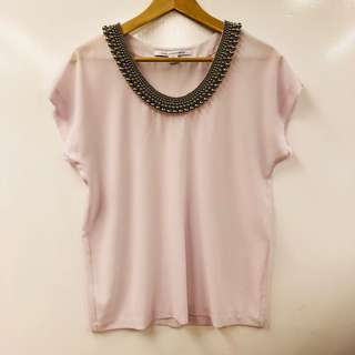 雪紡上衣 DVF polyester light purple with beads top size S