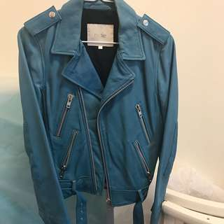 Maje baby blue leather jacket