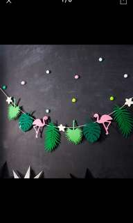 Instock- Flamingo Felt Bunting for Tropical Party