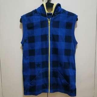Blue Plaid Hoodie Vest