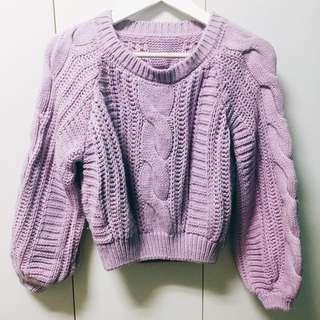 ✔️紫色短版毛衣 100