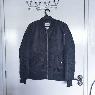 Red Skins Black Bomber Jacket