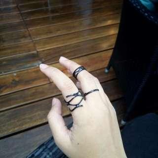 1 set (3pcs) Punk black ring