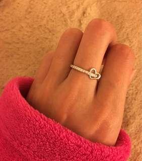 美品 18K 心型吊飾天然鑽石排戒指