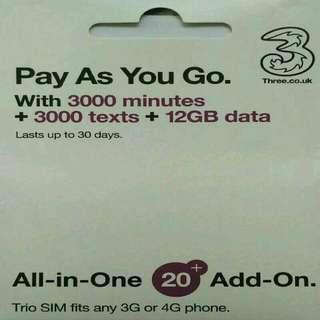 Europe 歐洲 數據卡 30天 4G/3G 12GB 數據 上網卡 + 3000分鐘英國通話 SIM CARD