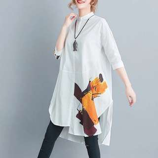 Plus Size 2018 summer cotton and linen solid printed shirt loose large size dress
