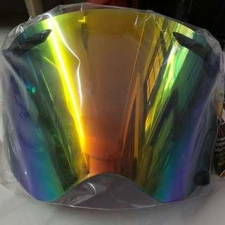 Arai TX-P visor. UV cut, titan mirror shield, smoke titan red.