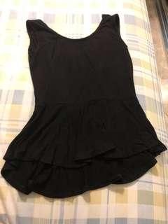 Black Peplum Top ( backless shirt )