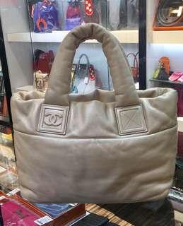 正品 90%新 Chanel Cocoon 全皮香檳金色羽絨手挽袋
