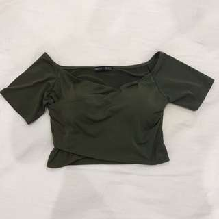 🔥 Off the shoulder wrap crop top with padding
