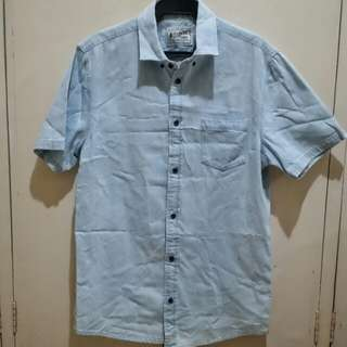 Faded Blue Denim Short Sleeves Polo Shirt