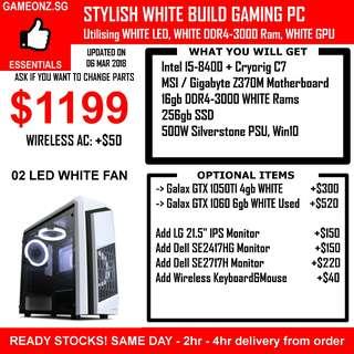WHITE BUILD GAMING PC Intel I5-8400 16gb DDR4-3000 SSD WHITE Rams GTX 1050 TI 1060 GTX1050TI GTX1060 PUBG OVERWATCH LOL DOTA2 CSGO FIFA BATTLEFIELD