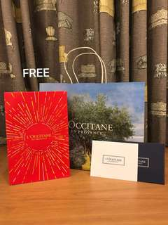L'occitane (Loccitane) Paper Bag + Gift Wrap + Gift Card Set. You may purchase at $6 OR this set is given FREE with any purchase of L'occitane sets.