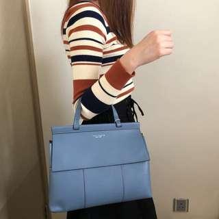 🎀TORY BURCH Block-T Blue Yonder Top Handle Satchel Bag