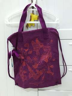 Kipling bag with drawstring purple (can be used as tote bag and backpack)
