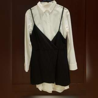 Zara Kemeja Terusan Rompi Shirt Dress Vest pre-loved