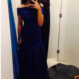 [GOWN4RENT] Navy Off-The-Shoulder Long Mermaid Prom Dress