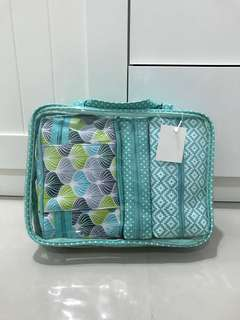 New travel pouch for toileteries or make up set of 4 turquoise
