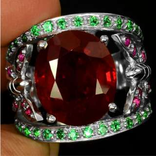 EXCEPTIONAL GEMS 10.30 CT BLOOD RED RUBY MAIN STONE 925 SILVER RING