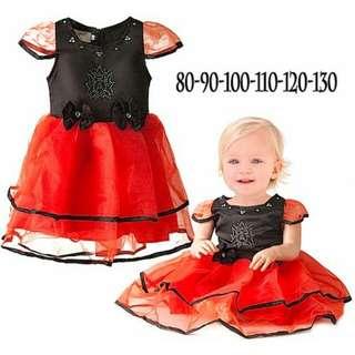 Baju anak dress satin merah