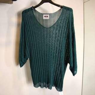 綠色短袖短版針織文青度假懶人上衣