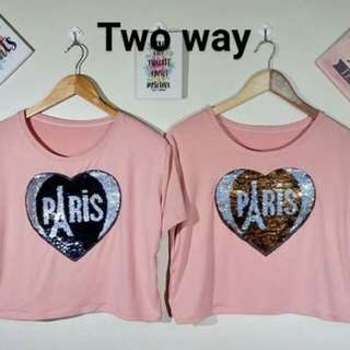 Two way sequins top