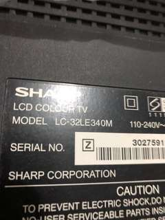 Sharp tv lcd 32 inch with 1 hdmi with remote in working condition