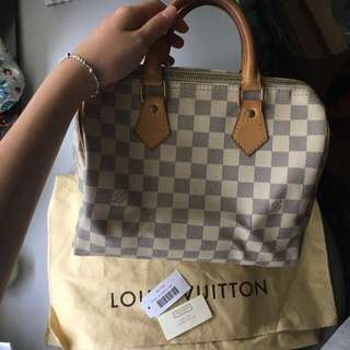 {Authentic} Lv Speedy Damier Azure 25