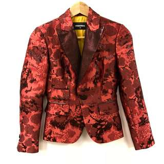 Dsquared red with roses short jacket size 38