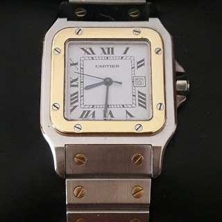 Cartier Santos 18k Gold Bezel Automatic Watch
