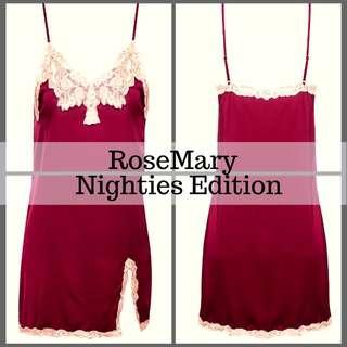 red nightgown dress lingerie nightwear