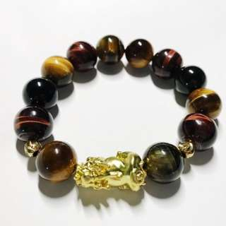 Tri colour tiger eyes Pixiu Bracelet Tiger Eye Bracelet Men Bracelet Gold Plated Pixiu Bracelet
