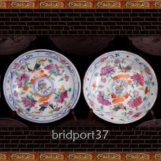 19thC straits chinese, peranakan, nonya porcelain saucer dishes (2)