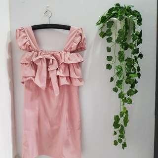 58ribu 716 DRESS party peach midi dress sexy