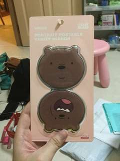 MINISO WE BARE BEARS GRIZZ PORTRAIT PORTABLE VANITY MIRROR