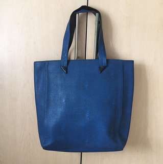 Blue Leather faux shoulder sling Bag