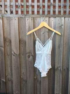 Washed White Lace Bodysuit