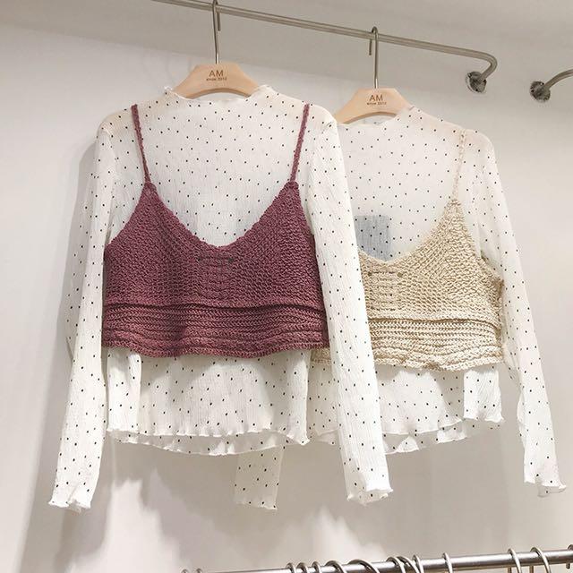 2018春新款圓點打底雪紡衫+吊帶針織背心兩件件套上衣