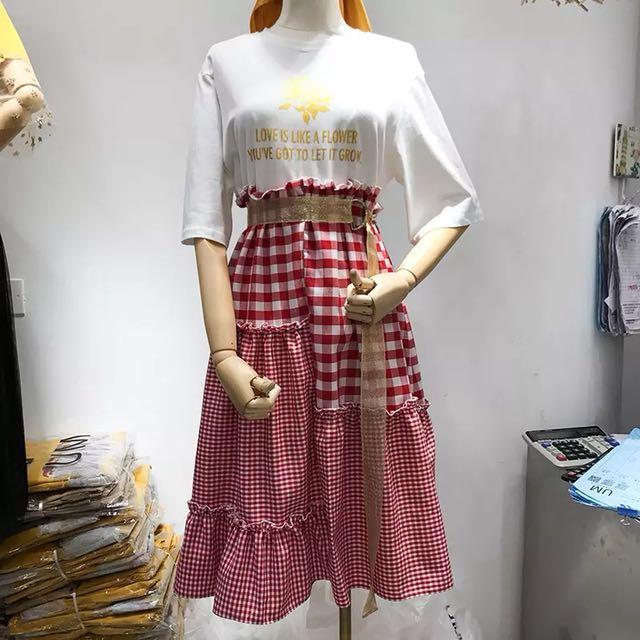 2018春夏新款印花字母五分袖格子拼接荷葉邊連衣裙