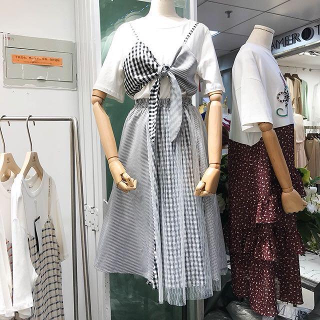 2018春裝時尚抹胸拼接假兩件T恤衫+高腰半身裙套装
