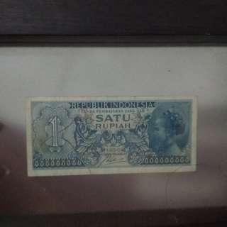Uang lama 1 rupiah tahun 1956