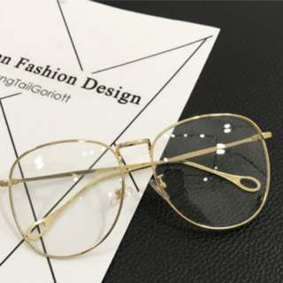 [ INSTOCK ] Gold Big Lense Glasses