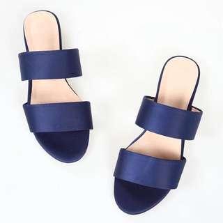 OshareGirl 03 歐美純色絲緞寶藍低跟平底一字帶涼鞋拖鞋